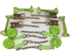 8 Point Kit of Hi-VIZ Green DIAMOND WEAVE Rollback / Flatbed Car Tie-Downs with Chain Tails