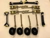 8 Point Kit of Black DIAMOND WEAVE Rollback / Flatbed Car Tie-Downs with Chain Tails