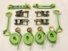8 Point Kit of Hi-VIZ Green DIAMOND WEAVE Rollback / Flatbed Car Tie-Downs with Twisted Snap Hooks