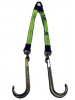 "24"" Hi-VIZ Green DIAMOND WEAVE Towing V-Bridle Strap with Big 15"" Forged J-Hooks"