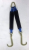 "24"" Blue / Black Towing V-Bridle Strap with Big 15"" Forged J-Hooks"